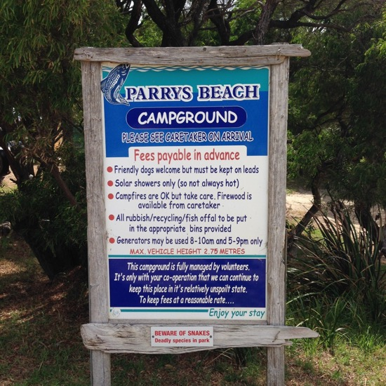 Parry Beach Campground Sign, Parrys Beach, William Bay NP